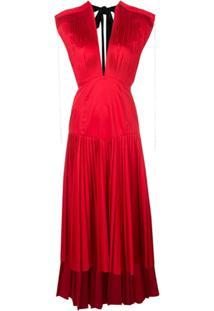 Khaite Vestido Plissado Com Gola V - Vermelho