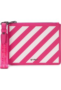 Off-White Clutch Listrada - Rosa
