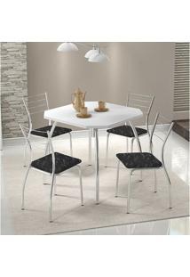 Mesa 1504 Branca Cromada Com 4 Cadeiras 1700 Fantasia Preto Carraro