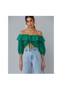 Amaro Feminino Blusa Cropped Decote Com Babado, Verde