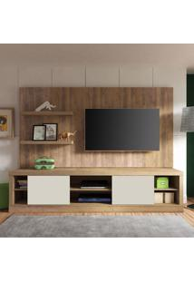 Estante Home Para Tv Até 55 Polegadas Boss Pinho E Off White 220 Cm