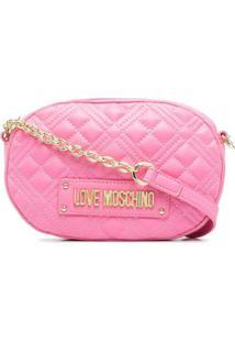 Love Moschino Bolsa Transversal Matelassê Oval - Rosa