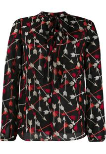 Red Valentino Red(V) Printed Arrows Blouse - Preto