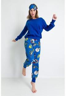 Pijama Longo Acuo De Meia Malha De Algodão Heróis Feminino - Feminino-Azul