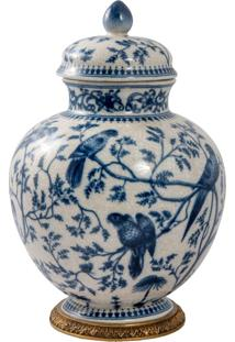 Vaso De Porcelana E Bronze Ii - Blue White