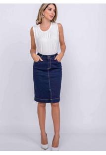 Saia Fenda Frontal Almaria Plus Size Shyros Jeans