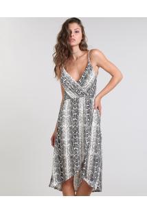 Vestido Feminino Com Transpasse Animal Print Off White