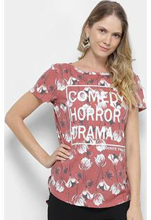 Camiseta My Favorite Thing (S) Alongada Estampada Feminina - Feminino-Vermelho