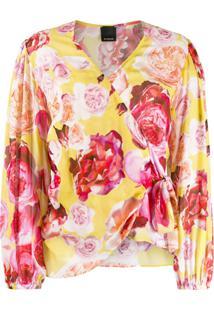 Pinko Blusa Com Transpasse E Estampa De Rosa