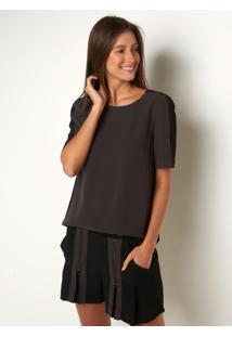 Camiseta Le Lis Blanc Marina Preto Feminina (Noir + Black, Gg)