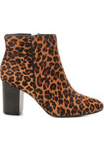 Bota Cano Curto Couro Shoestock Leopard Feminina - Feminino-Caramelo