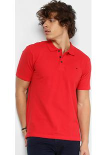 Camisa Polo Em Piquet Replay Manga Curta Masculina - Masculino-Vermelho