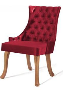 Cadeira Rocaille Capitone Vermelho Base Natural - 50555 - Sun House