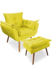 Combo Poltrona Decorativa Opala Deluxe Com Puff Suede Amarelo - Unico - Dafiti