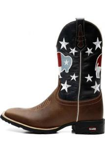 Bota Ellest Texana Bandeira Do Texas Com Estrelas