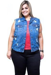 Colete Jeans Cambos Plus Size Jucimaria Azul Feminino - Feminino-Azul