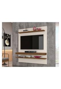 Painel Para Tv Até 55 Polegadas Sala De Estar Web New Off White/Canela - Frade Movelaria