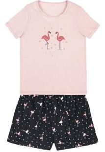 Pijama Feminino Em Malha De Algodão Com Shorts Estampado