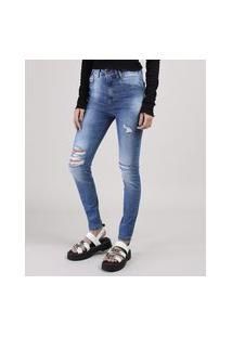 Calça Jeans Sawary Cigarrete Destroyed Cintura Média Azul Médio