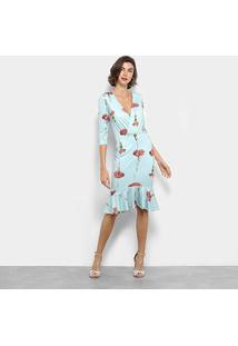Vestido Lança Perfume Sino Midi Floral - Feminino-Azul Claro