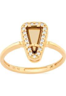 Anel Skinny Ring Composto Por Cristal Triângular E Zircônias Rommanel - Feminino-Dourado