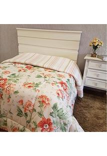 Edredom Dupla Face Casal Queen Campestre 01 Peça Percal Misto 160 Fios - Floral Laranja