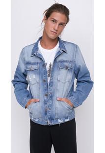 Jaqueta Em Jeans Com Puídos