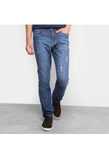 Calça Jeans Slim Drezzup Estonada Puídos Masculina - Masculino-Azul Escuro