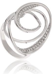 Anel De Ouro Branco 18K Círculos Geométricos Vazados Com Diamantes