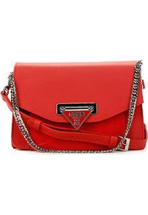 Bolsa Couro Carmim Mini Bag Adrian Alça Corrente Feminina - Feminino-Vermelho