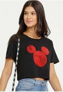 Blusa Disney Cropped Mickey Paetês Manga Curta Feminina - Feminino-Preto
