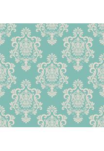 Papel De Parde Sunset Adesivos Arabesco Azul Tiffany E Cinza - Rolo 6,00 0,50 M