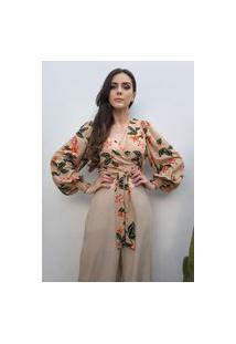 Blusa Hora De Diva Cropped Transpasse Bufante Floral