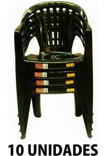 Cadeira De Plastico Poltrona Preta Empilhável 10 Unidades