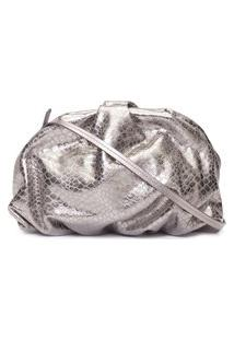 Bolsa Maxi Clutch Avril Croco Metallic - Prata