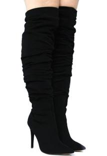 Bota Zariff Shoes Over The Knee Salto Alto Feminina - Feminino-Preto