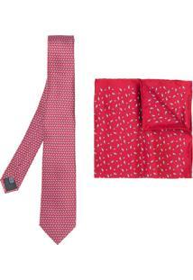Lanvin Conjunto De Gravata E Lenço De Bolso De Seda - Vermelho