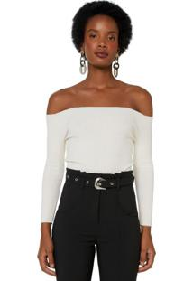 Blusa Tricot Ombro A Ombro Cropped