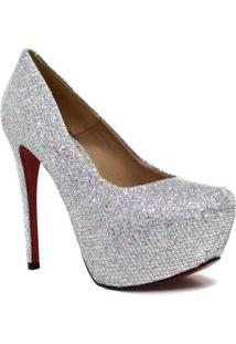 Scarpin Zariff Shoes Pump Glitter - Feminino-Prata