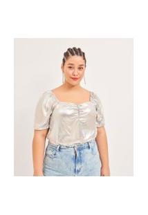 Blusa Metalizada Em Suede Com Manga Bufante Curve & Plus Size | Ashua Curve E Plus Size | Prata | Gg