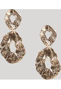 Brinco Feminino Texturizado Dourado - Único
