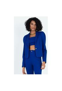 Blazer Cropped Com Mangas Bufantes Azul Azul