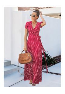 Vestido Branly Longo - Vermelho Com Bolinhas Brancas