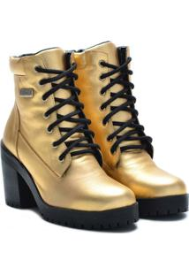 Bota Couro Atron Shoes Cano Curto Feminina - Feminino-Dourado