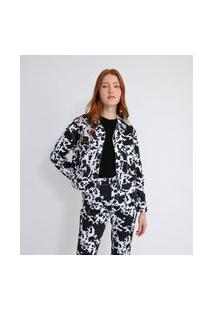 Jaqueta Em Sarja Com Bolsos E Estampa Animal Print Vaca