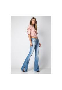 Calça Flare Low Tálassa Lança Perfume Jeans Azul