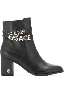 Versace Jeans Ankle Boot Com Logo - Preto