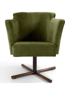 Poltrona Decorativa Sala De Estar Giratória Xis Alba Veludo Verde - Gran Belo