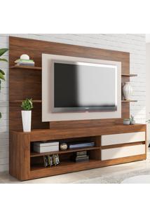 Estante Para Tv Até 43 Polegadas 2 Gavetas Tabu Cedro/Off White - Viero Móveis