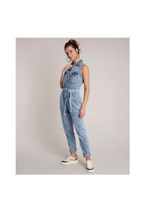 Macacão Jeans Feminino Com Botões E Faixa Para Amarrar Azul Médio